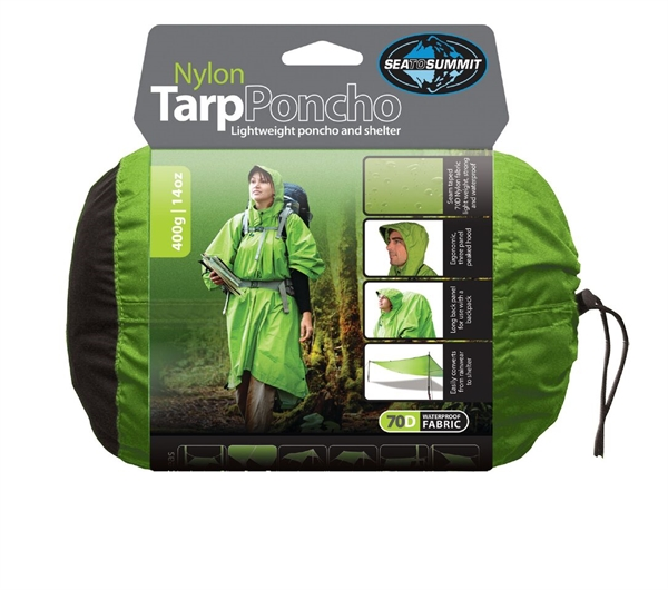 Sea to Summit 70D Nylon Tarp Poncho Green